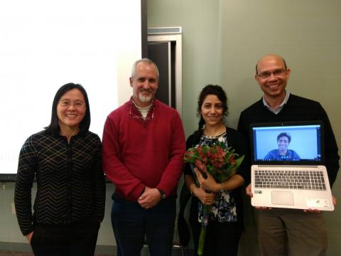 Dr. Schirner, Dr. Tabkhi, Nasibeh, Dr. Kaeli, and Dr. Fei ( from right to left)