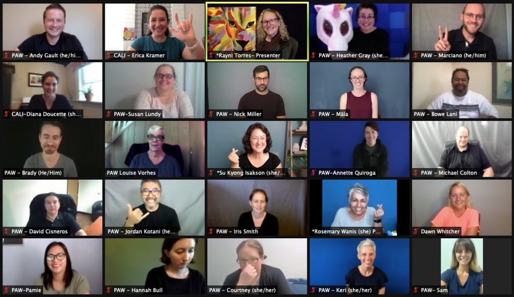 group photo of cohort 4 participants in a virtual meeting room