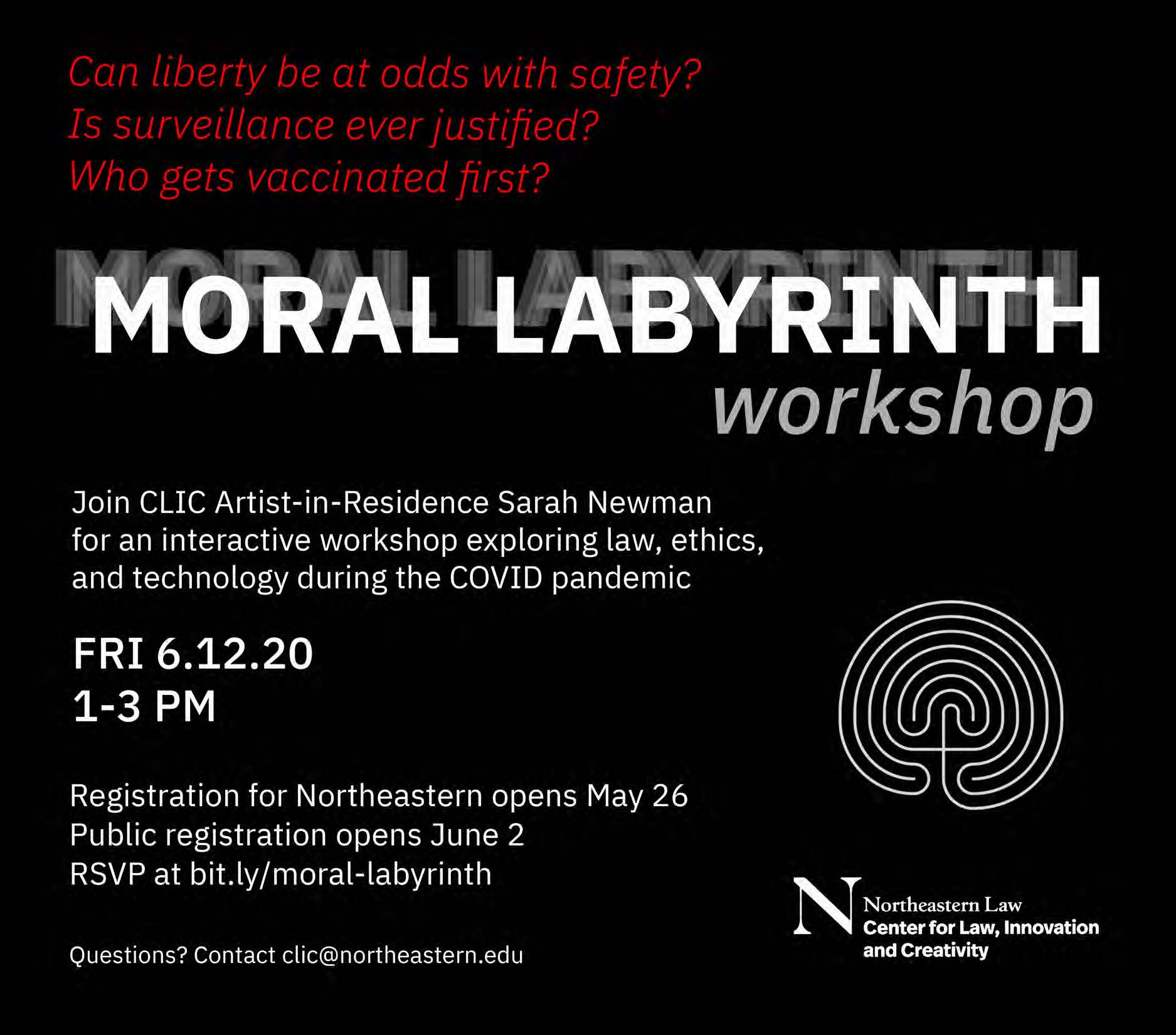 New Event: Moral Labyrinth Workshop with CLIC's Artist-in-Residence, Sarah Newman
