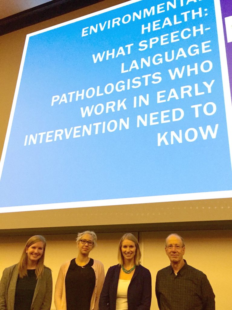 From left: Leigh Borkowski (SLP Master's student), Stephanie Clark (Sociology PhD student), Dr. Emily Zimmerman, Dr. Phil Brown