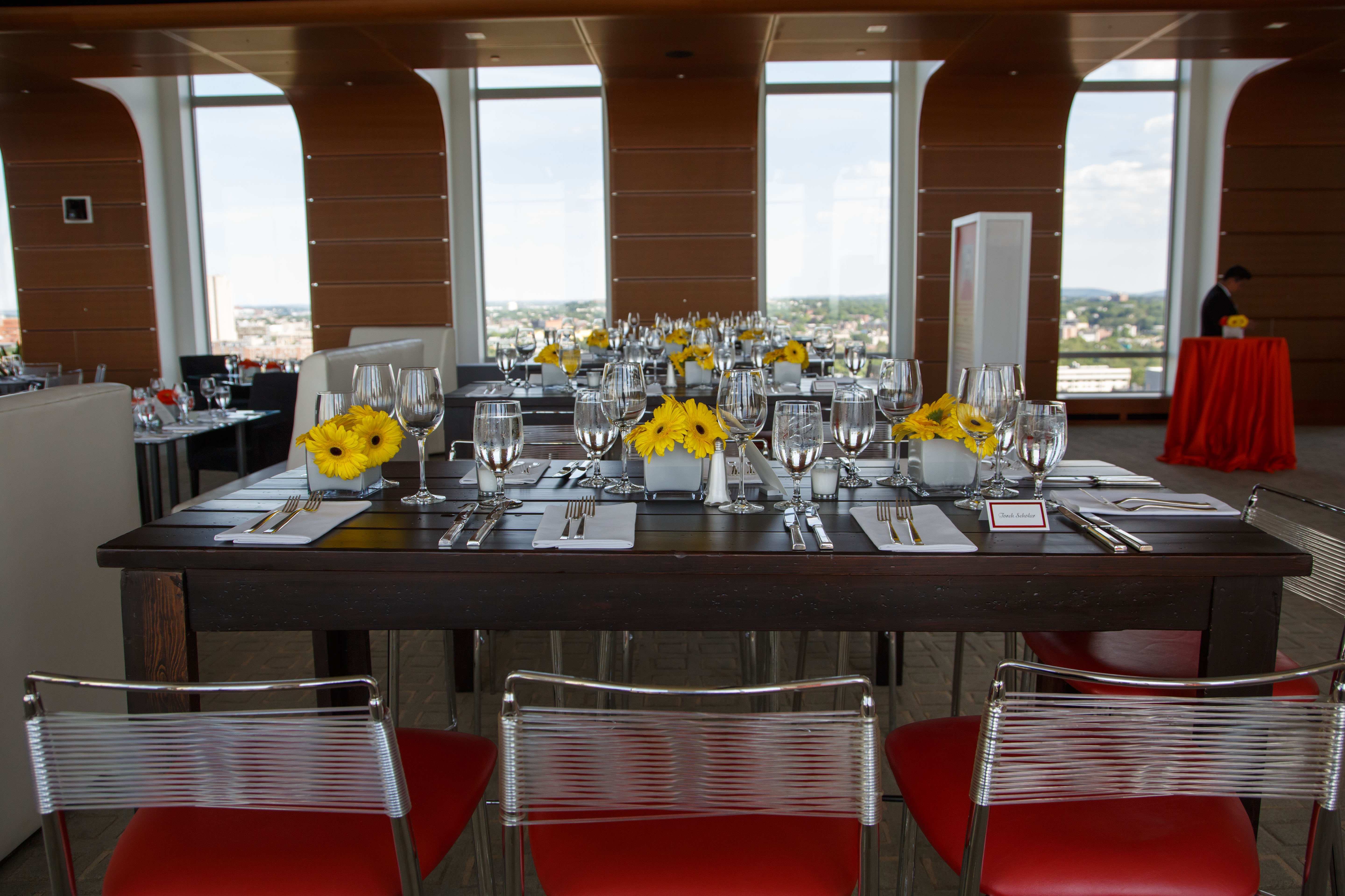 Yellow Flowers on Tables