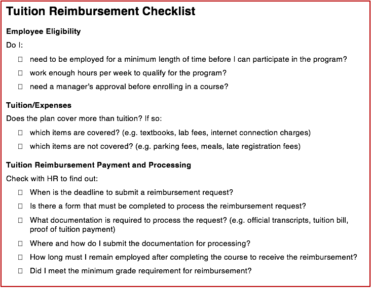 Tuition Reimbursement Eligibility Checklist