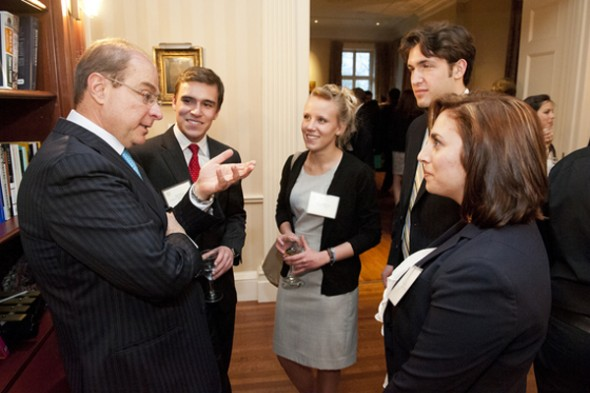 President Aoun meets the Huntington 100, photo taken by Brooks Canaday (Northeastern)