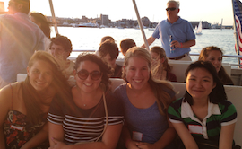 Hannah Bergam, Rachel Shapiro, Grace Schulz, and Wendy Chu on the harbor.