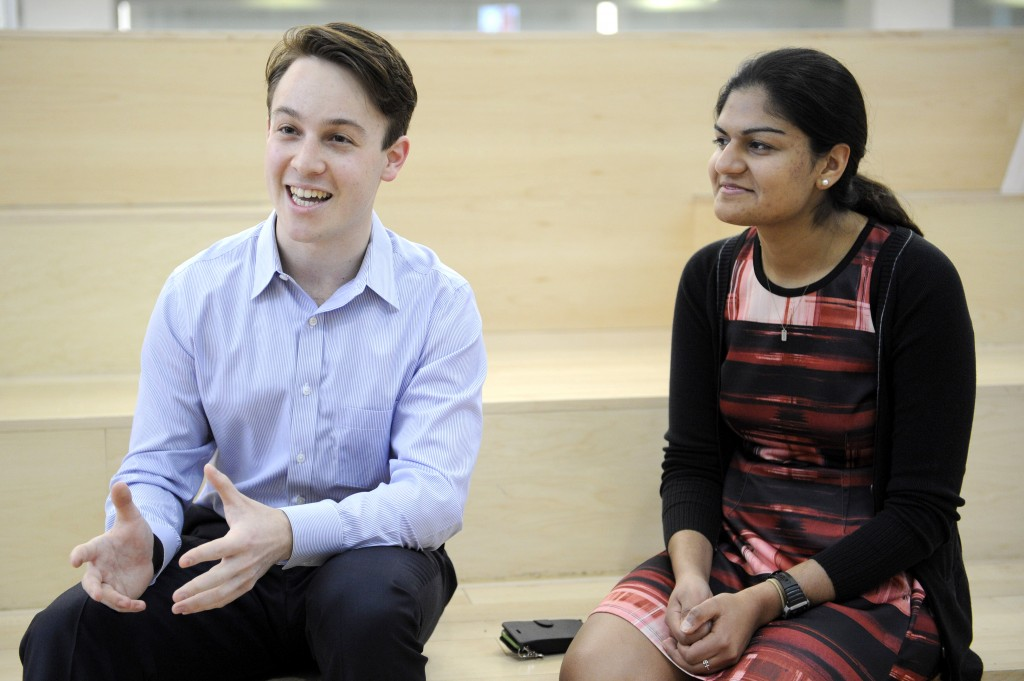 SGA President and University Scholar Elliot Horen, CCIS'18, and SGA Vice President Suchira Sharma, DMSB'19, pose for portraits inside the Curry Student Center at Northeastern University on April 15, 2016. Photo by Matthew Modoono/Northeastern University