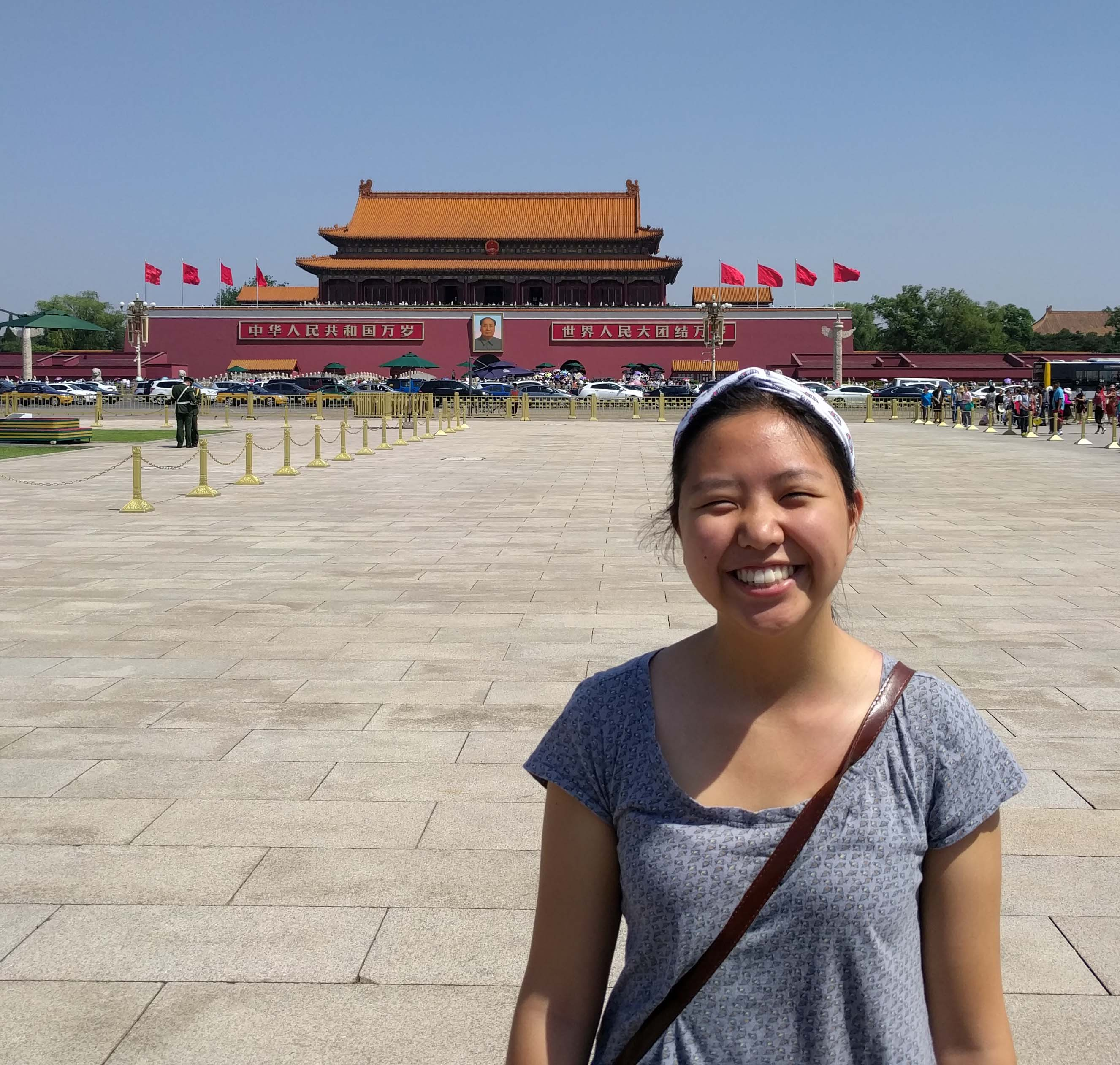Amy Zhao at the Forbidden Palace in Beijing, China.