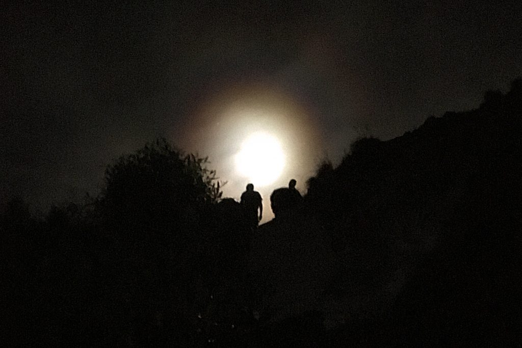 Hiking a volcano by moonlight